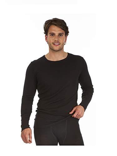 Palm® Homme invisible sans couture à manches longues col rond haut thermique couche de base - Gris - Medium