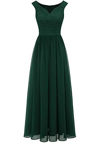 Aupuls 0070 Elegant Abendkleid Spitzen Maxi Chiffonkleid V-Ausschnitt Bodenlang Kleid Grün L