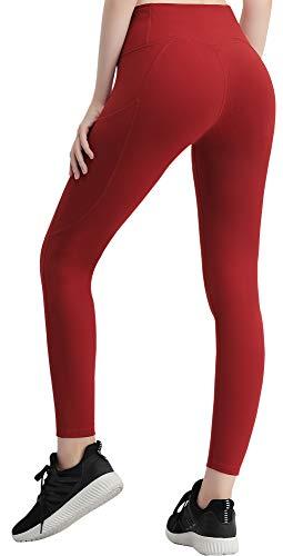 FITTIN Damen Yoga Leggings Hohe Taille mit Taschen - Blickdichte Leggings Sporthosen für Laufen, Sport, Training, Fitness Dunkelrot S