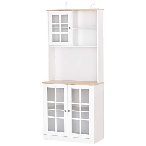 Armoire de cuisine multi-rangements 3 portes vitrine verre avec étagère 2 niches grand plateau MDF blanc chêne
