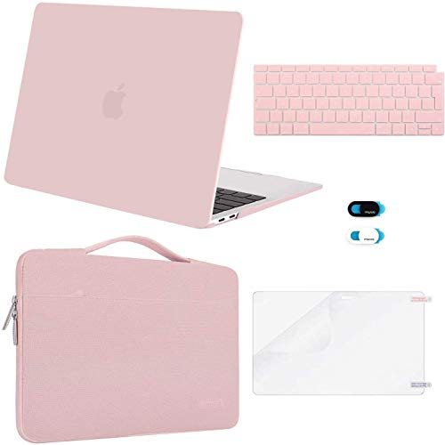 MOSISO MacBook Air 13 inch Case 2020 2019 2018 A2337 M1 A2179 A1932, Plastic Hard Shell&Sleeve Bag&Keyboard Cover&Webcam Cover&Screen Protector Compatible with MacBook Air 13 inch Retina, Rose Quartz