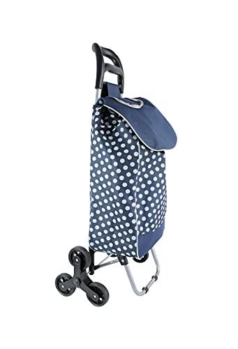 Einkaufstrolley mit 6 Rollen 35 Liter Fassungsvermögen Treppensteiger abnehmbare Tasche Trolley Einkauf Tasche Einkaufen Treppen (blau/weiße Punkte)