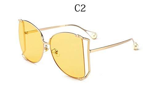 LYRStore886 Signore degli Occhiali da Sole Trasparente Occhiali da Sole della Struttura Mezza di Piazza Signore Cat Eye Generoso, Bellissimo (Lenses Color : C2)