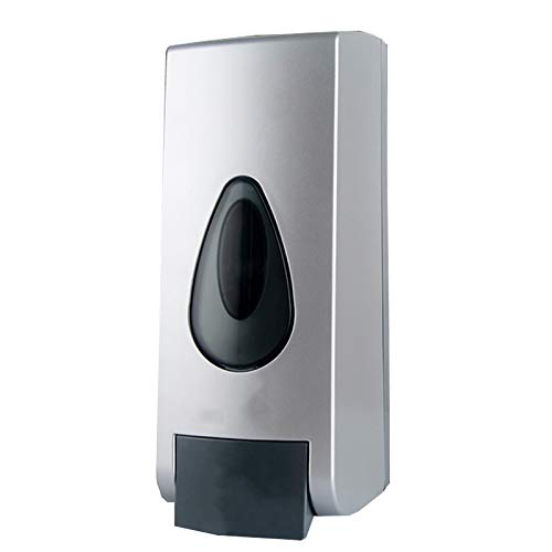 WXZX Dispensador Jabon Liquido Pared Cabeza Única, Plata Manual Plástico ABS Recargable Dispenser, Recipiente Vacío con Bomba 500ml, Ordena La Encimera Y Ahorra Espacio