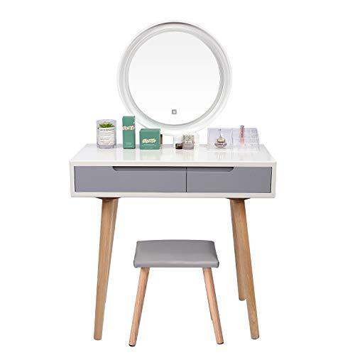 YOURLITE - Tavolo da toeletta con Specchio con luci a LED, Set da Trucco Bianco con Specchio Regolabile luminosità, Sgabello Imbottito e Organizer per Trucchi Bianco e Grigio.