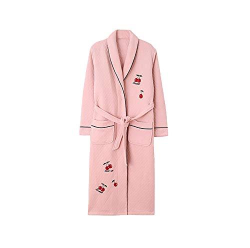 Bata de Lujo para Mujer,Albornoz Largo y Esponjoso para Mujer,Algodón Puro más camisón Largo, Albornoz cálido y Grueso-F_M