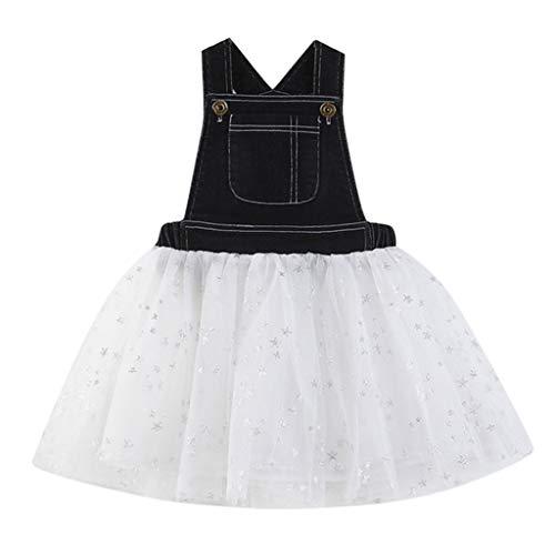 HEETEY HEETEY Mädchen Kleid Rock Outfits Kleinkind scherzt Baby-Kleid Denim-Spleiß-Tüll-Party Festzug Prinzessin Kleider Ärmelloses Mesh-Westenkleid
