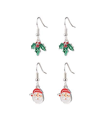 SIX 2er Set Ohrhänger mit Weihnachtsmann und Mistelzweig (532-117)