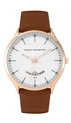 French Connection Quarz Uhr mit echtes Leder Armband FC143T