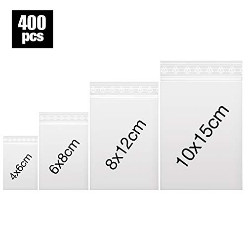 400 x Druckverschlussbeutel | Gleitverschlussbeutel 60 mµ | Zip Lock Bags | Schnellverschluß Tüten | Zip Verschlussbeutel | Polybeutel | Beutel Set mit 4 Größen von Anstore