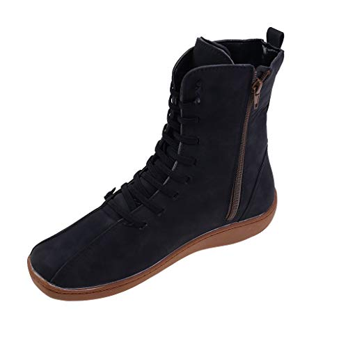 Oldlover✚2020 New Arch Support Boots Women's Fashion Vintage Warm Waterproof High Top Snow Boots Non-Slip Side Zipper