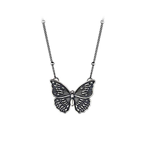 WGGTX Necklace Necklace women 925 silver vintage butterfly necklace clavicle chain gift items