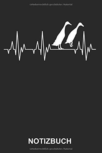 Notizbuch: Laufenten Ente Entenzucht Geflügelzüchter Bauernhof Landwirtschaft Geflügelzucht Tiere Lustig Witzig Herzschlag EKG   Notizbuch, Tagebuch, ...   ca. A5 mit Linien   120 Seiten liniert