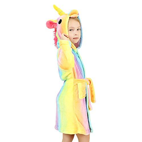 wgde toy Jouets pour Filles Douce Licorne Peignoir à Capuchon Vêtements de Nuit pour Enfants Licorne Jouets Cadeaux de Licorne,Arc en ciel,2-3 Ans (90)