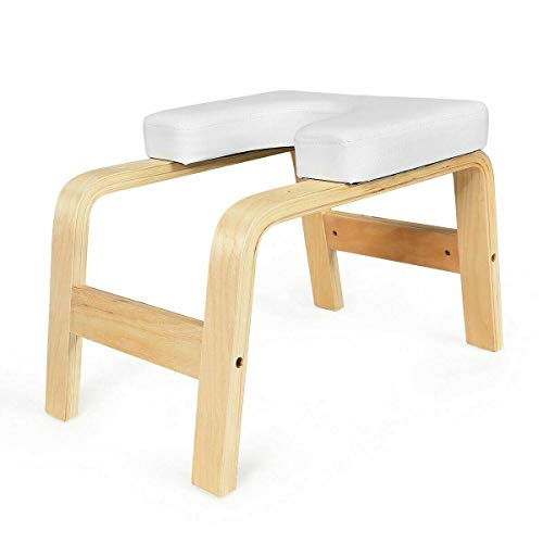Why Should You Buy Boomer888 Modern White Yoga Headstand Bench Wood Stool with Polyvinyl Chloride So...