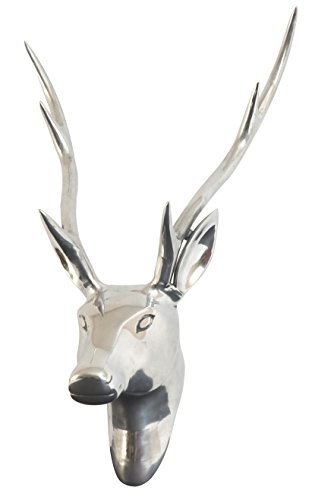 Gahalia Banc de Jardin décoratif cerf tête de cerf en Aluminium Poli 49 x 39 cm