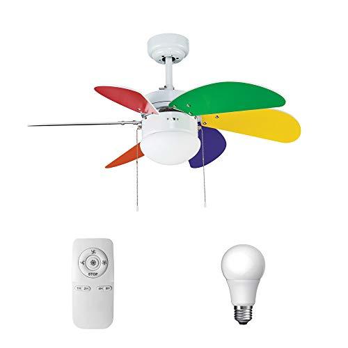 Pack Ventilador juvenil de LED y Mando a distancia multicolores vivos.