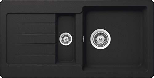 SCHOCK Küchenspüle 86 x 43,5 cm Typos D-150S Onyx - CRISTALITE Granitspüle mit 1 ½ Becken ab 60 cm Unterschrank-Breite