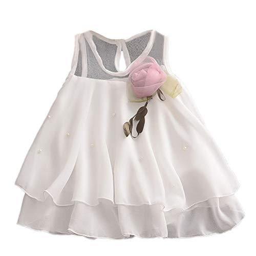 Casual Girls Dress Toddler Bébé sans Manches Couleur Pure Tulle Jupe Pétale Floral Robes Robe De Princesse Robe Tutu 3-24Mois(12-18 Mois,Blanc)