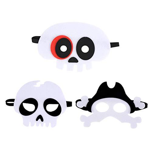 Fansport Halloween Máscara de Fieltro Máscaras de Halloween de Pirata Esqueleto Calabaza para Disfraz de Mascarada para niño Adulto