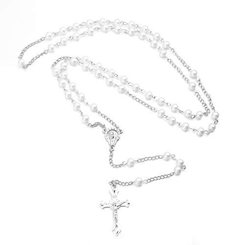 VOSAREA Christian Pearl Perlen Rosenkranz Halskette mit Kruzifix Keepsake Gebetskette Halskette (weiß)