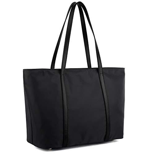 YALUXE Femme Sac Cabas Sac à Main Fourre-Tout porté épaule Oxford Nylon Cuir Grande Capacité Noir&Noir