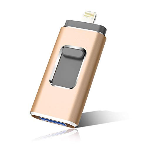 iOS Flash Drive for iPhone Photo Stick 1TB SZHUAYI Memory Stick USB 3.0 Flash Drive Thumb Drive for iPhone iPad Android and Computers (1TB, Gold)