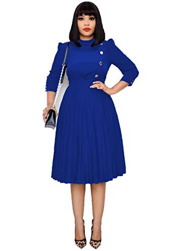 SLYZ 2021 Señoras Primavera Y Otoño Xin Nuevo Vestido Plisado con Botones De Gran Tamaño A La Moda De Gran Tamaño para Mujer