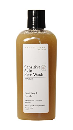 Sensitive Skin Care Cleanser Chamomile & Cucumber - 100% Natural - Vegan Chemical Toxic Free - All Skin Types