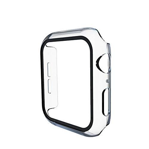 WSGGFA Para Apple Watch 5 Funda Full Town Series 5 4 3 2 Funda de Parachoques de plástico Mate con película de Vidrio para Protector de Pantalla IWATT 5 4