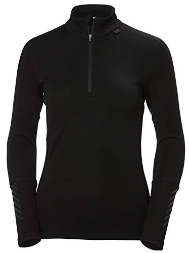 Helly Hansen Damen W HH Lifa Merino 1/2 Zip Funktionsshirt Langärmliges Thermoaktive Sportwäsche, 990 Black, S