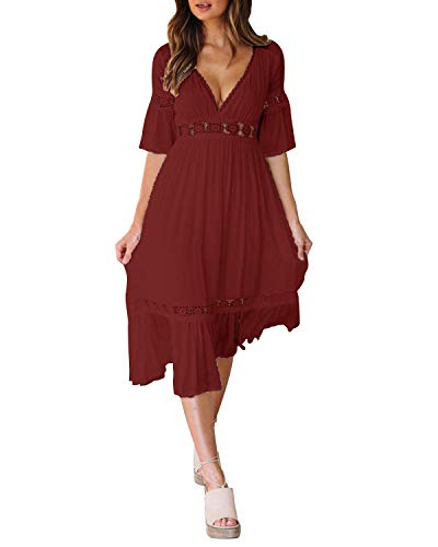 Style Dome Damen Schulterkleid Langarm Boho Kleid Blumenmuster Strandkleid Sommerkleider Lang Maxikleid 5 Rotwein L