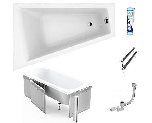 ECOLAM Badewanne Eckwanne Barbade Trapez 160x100 cm LINKS Acryl weiß + Styroporverkleidung zum Verfliesen, Ablaufgarnitur Ab- und Überlauf Automatik Füße Silikon Komplett-Set