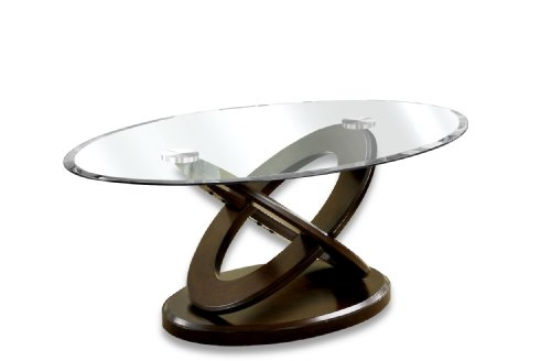 Furniture of America Xenda Coffee Table with 8mm Tempered Glass Top and Cross Shaped Base, Dark Walnut Finish