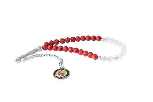 Remi Bijou Gök-Türk Gebetskette - Tesbih Galatasaray GS für Fußballfans - rot, ColorName:Silber