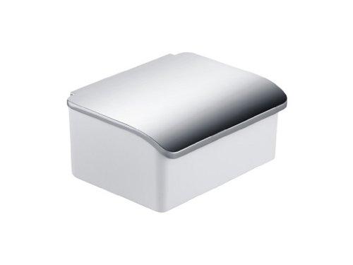 Keuco Elegance 11667013000 Glazen box voor vochtige papieren (porseleinen houder wit, deksel verchroomd, wandmodel, modern design)