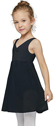 MdnMd Tank Dance Ballet Leotard for Little Girls with Long Skirt Ballerina Dress Outfit (Black, Age 8-10)