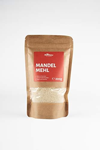 Rheinnatur Mandelmehl, naturbelassen, blanchiert | Low Carb, glutenfrei, Keto, vegan | 200 g Beutel