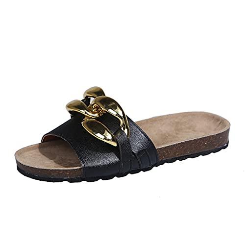 Sandalias de Planas para Mujer Verano 2021 Verano Sandalias de Punta Pantuflas Zapatillas de Corcho Confort Zapato de Playa Moda Mules Transpirable Alpargata para Deportes Al Aire Libre