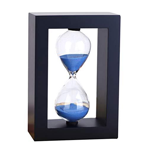 KSWD Reloj de Arena 5/10/15/20/25/30 Minutos con De Madera Marco, 14.5x10cm (5.7x3.9inch) Temporizador de Arena Festival Regalo Cocina Habitación Azul,30min