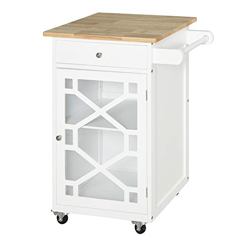 Chariot de service - desserte de cuisine à roulettes - tiroir, placard, porte-serviette - dim. 63L x 45l x 86H cm - plateau bois caoutchouc structure MDF blanc