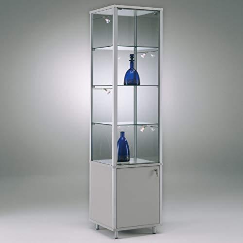 MHN staande vitrine vitrine staand glas afsluitbaar aluminium tentoonstellingsvitrine poten met onderkast opbergvak 40 cm breed