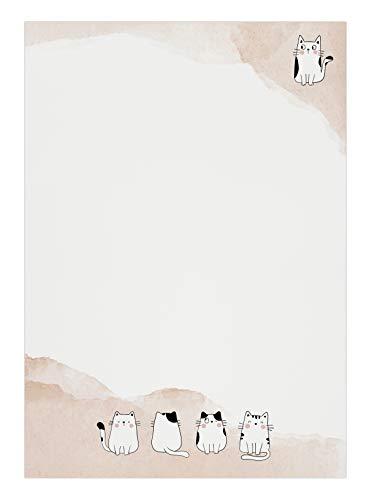 Briefpapier: Katze • DIN A5, Creme • 50 Blatt • Kätzchen, süß, niedlich, Haustier, Tier, Aquarell • Motivpapier, Designpapier, Schreibpapier, Block, Schreibblock, Notizblock, Briefblock