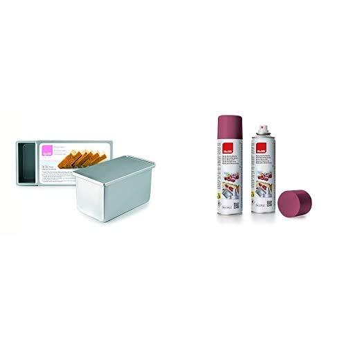 Ibili 815520Mould Pan Inglés, Aluminio, Plata, 19X 11X 11Cm + 746300 Spray Desmoldeante Antiadherente 250 Ml
