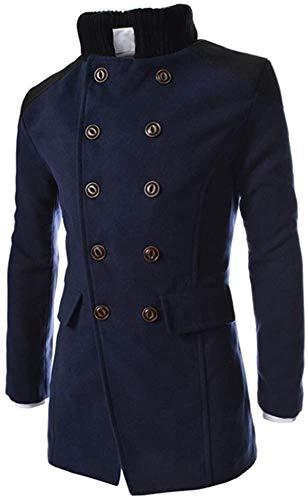 AlvaLynd Men's Double-Breasted Windbreaker Jacket Lapel Woolen Long Coat Winter Warm Trench Long Sleeve Button Smart Overcoat