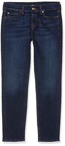 7 For All Mankind Mid Rise Roxanne Crop Jeans Slim, Blu (Dark Blue WC), W30/L28 (Taglia Unica: 30/28) Donna