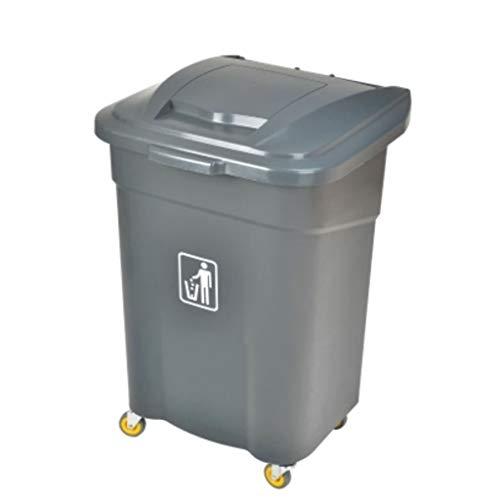 Papelera rectangular de plástico de gran capacidad, con tapa para cocina, restaurante, exterior, sanitario, reciclaje, cubo de basura con rueda, cubo de basura (color: gris)