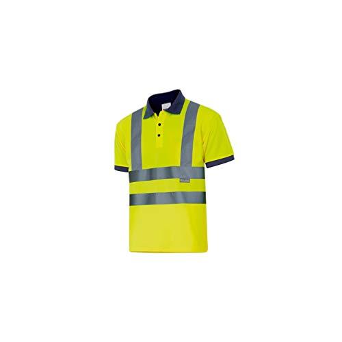VELILLA 305502 / Polo bicolore a maniche corte, alta visibilità. Alto Giallo/Basso Blu navy L