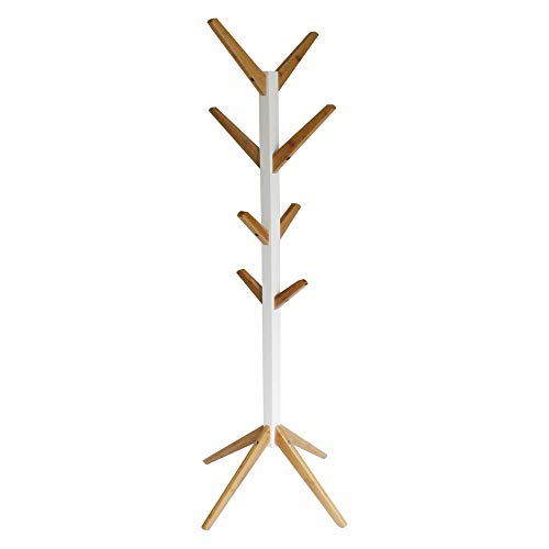 Natsen Garderobe Garderobenständer 8 Haken Kleiderständer Flur Diele Schlafzimmer Wartezimmer Acht Haken Holz Bambus, Weiß