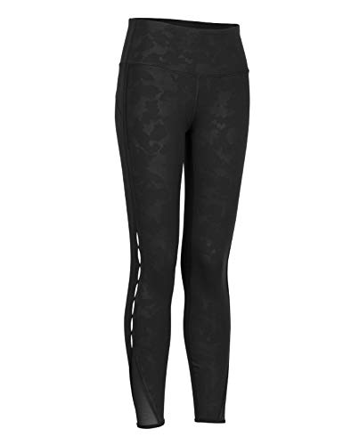 CRZ YOGA Mujer Naked Feeling Cintura Alta Leggings Yoga Pantalones Deportivos con Malla-63cm Camuflaje Negro 38
